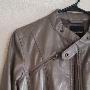 Poetry Clothing Faux Leather Tan Jacket